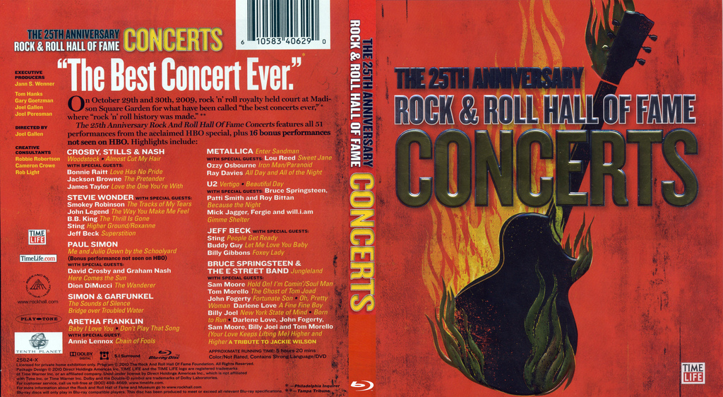 the 25th anniversary rock roll hall of fame concerts 2010 blu ray. Black Bedroom Furniture Sets. Home Design Ideas
